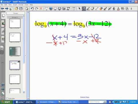Solving Logarithmic Equations (Part 1) - LT12