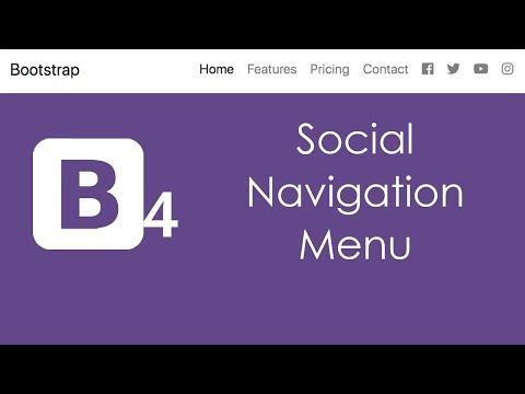 Bootstrap 4 Social Navbar Navigation Menu with HTML5