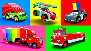 Cars Cartoons McQueen, Mack, Fire Truck, Excavator, Police Car, Garbage Truck & more Color Vehicles