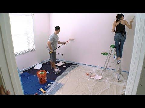 Expectant Parents Complete DIY Paint Project for Nursery