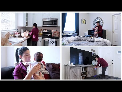 CLEAN WITH ME WITH A NEWBORN | CLEANING MOTIVATION