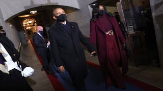 Former Presidents Clinton, Bush and Obama arrive at Joe Biden