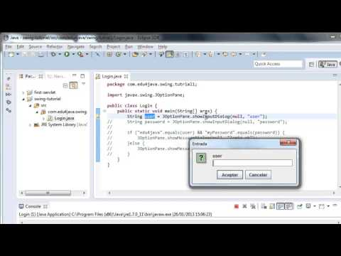 Dialog boxes: showMessageDialog and showInputDialog. Video Tutorial 1 Java Swing in English