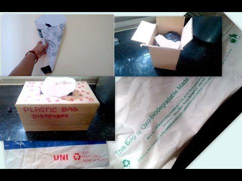 Organise Plastic carry bag in 3 methods(DIY)   Bio degradable plastic bag dispenser using waste box