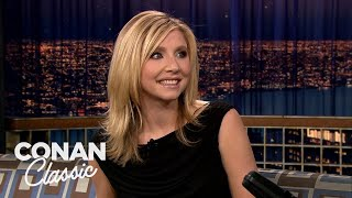 Sarah Chalke Compliments Conan In German   Late Night with Conan O'Brien
