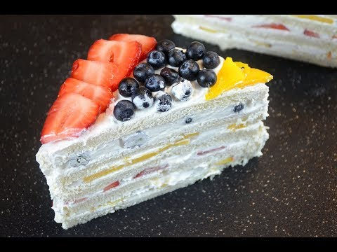 Cake with Bread Slices | No Bake Cake | Fruit Cake in 5 mins