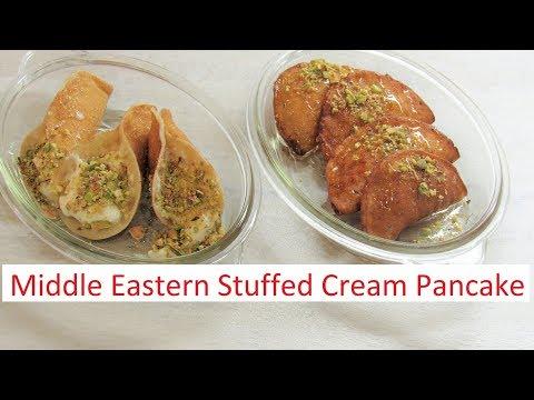 Katayef ( Atayef ) Middle Eastern Cream Stuffed Pancake / #Recipe269CFF/ #cffrecipes