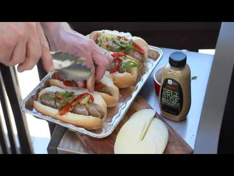 Grilled Zoo Brew Brats with Peppers & Onions