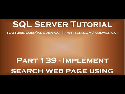 Implement search web page using ASP NET and Stored Procedure