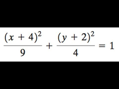 (x+4)^2/9 + (y+2)^2/4 = 1 For the ellipse find the center, foci, and vertices, graph the equation.