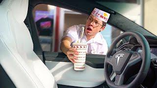 Sending Empty Tesla Autopilot Through Drive Thru!