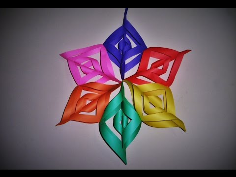 How to make a large 3D Paper Snowflake Tutorial step by step