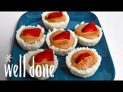 How To Make Strawberry Nutella Sushi Cups With Robin & Sara | Homemade VS The Internet | Well Done