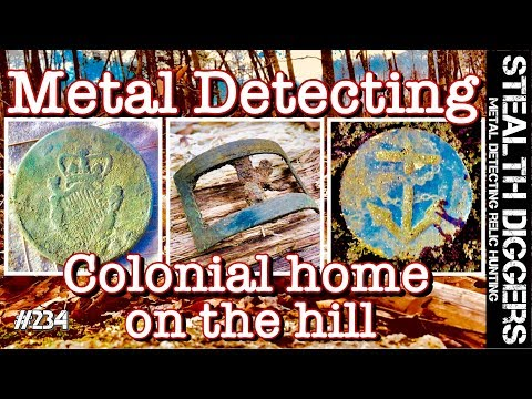 Metal detecting Colonial home on the hill NH cellar hole 1700's coins continental Navy button #234