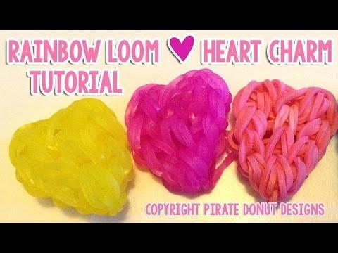 Simple CUTE Heart Charm Rainbow Loom Tutorial Valentine's Day