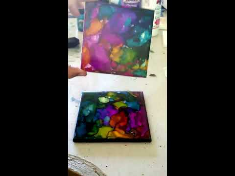 Alcohol ink tile coaster tutorial - stained glass look