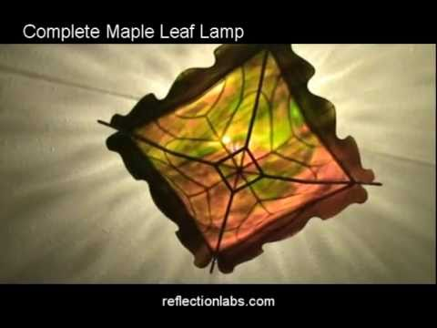 how to fuse glass and slump it into stainless steel - maple leaf lamp
