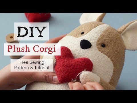 DIY Plush Corgi—Quigley the Corgi FREE Sewing Pattern and Tutorial