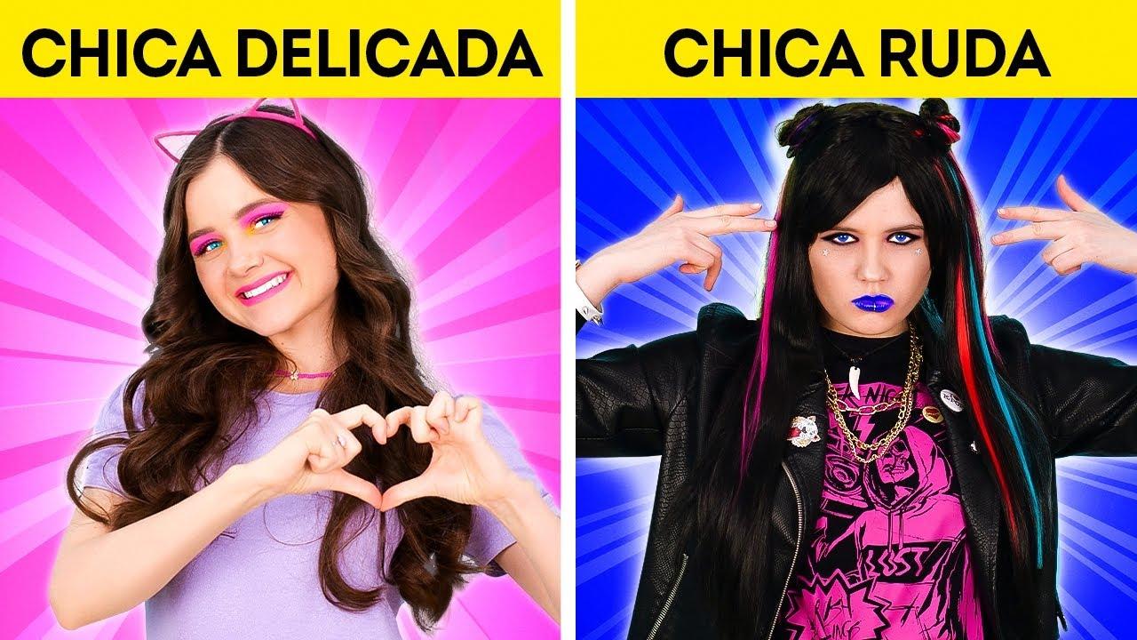 CHICA RUDA VS CHICA DELICADA || ¡Divertidas tendencias de TikTok! Buenos vs. malos de 123 GO! BOYS