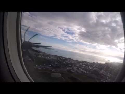 Bombardier Q400 flying from Reykjavik to Akureyri