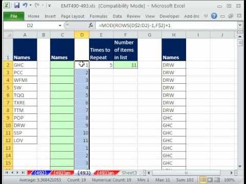 Excel Magic Trick 493: Repeat a List of Names 7 times