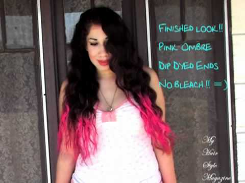 ♥ How to: DIY Dip Dyed Ombre Neon Pink Hair Style without BLEACH tutorial Nicki Minaj Inspired