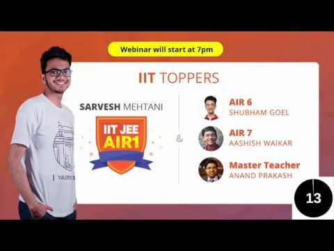 10 Secrets to Crack IIT JEE  by Top 10 AIRs | AIR 1 Sarvesh Mehtani with Master Teachers at Vedantu