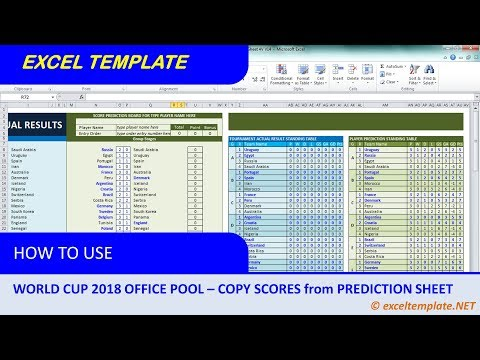 World Cup 2018 Office Pool #4 : Copy Scores from Player's Prediction Sheets