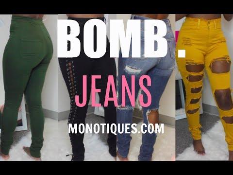 SUPER BOMB JEANS! | MONOTIQUES.COM Try-On Haul