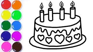 Dibuja y Colorea Torta de Cumpleaños - Aprende Colores Para Niños - Learn Colors / FunKeep