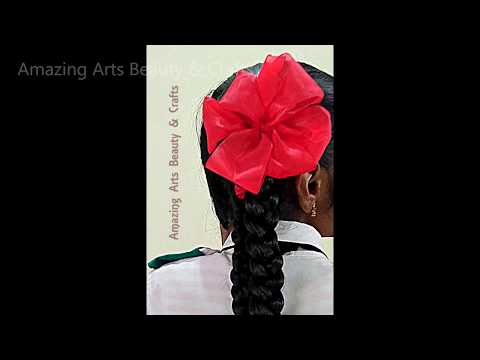 Trailer Video of School HAIR STYLE HACKS Ribbon Flower Making on hair  | Complete Tutorial