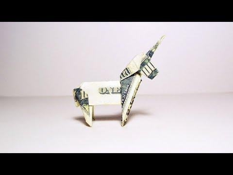 Money Unicorn Origami Animal 1 Dollar Tutorial DIY Folded No glue and tape