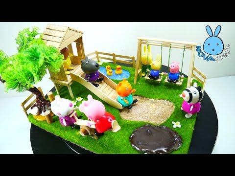 PEPPA PIG The Playground DIY Miniature Park Tutorial - Hot Glue NOVA Craft