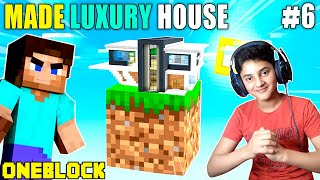 I MADE MY FIRST LUXURY HOUSE IN MINECRAFT ONE BLOCK | GAMEPLAY#6 | HS GAMING