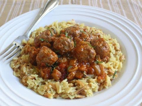 Mini Lamb Meatballs with Spicy Eggplant Tomato Sauce - Lamb Meatballs Recipe