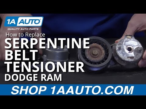 How to Install Replace Serpentine Belt Tensioner 2003-08 Dodge Ram 1500 BUY PARTS AT 1AAUTO.COM