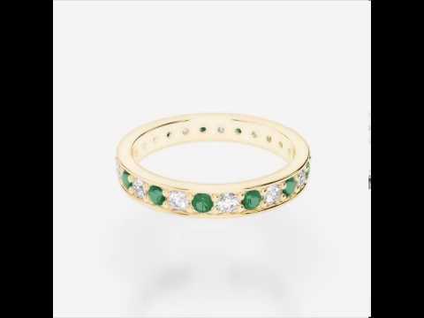 Yellow Gold Emerald Diamond Eternity Ring   YGold Emerald Eternity Ring 1080