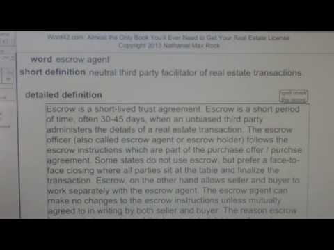 escrow agent CA Real Estate License Exam Top Pass Words VocabUBee.com