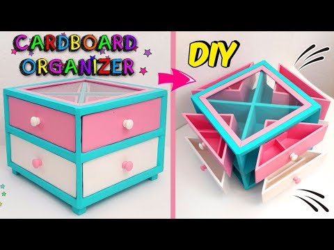 Low cost crafts using recycling - How to make your own make-up organizer DIY with cardboard