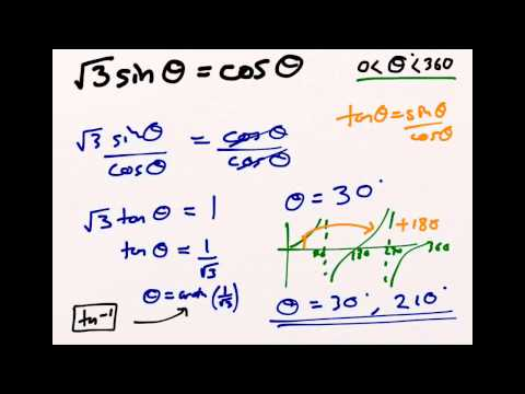 Using the tanθ = sinθ / cosθ trigonometric identity to solve equations