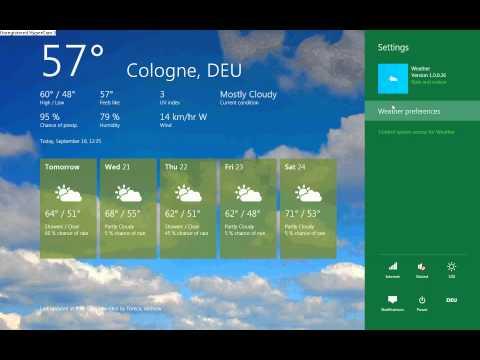 Windows 8 Weather / Wetter App- Fahrenheit to Celsius