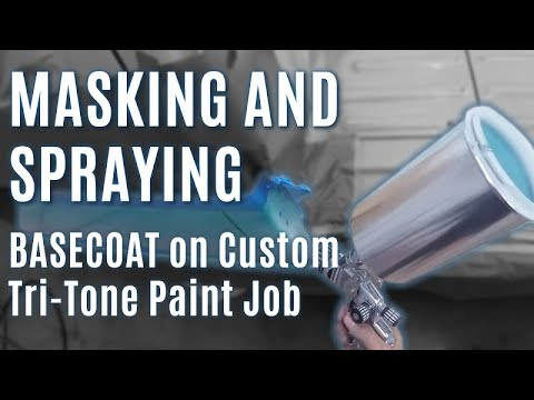 Masking & Spraying BASECOAT on Custom Tri-Tone Paint Job