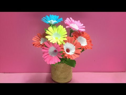 How to Make A Flower with Paper | Making Paper Flowers Step by Step | DIY-Paper Crafts