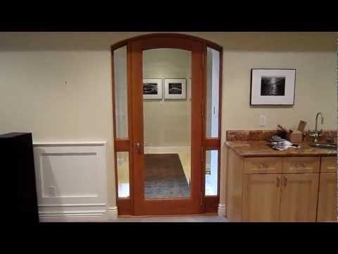 Solid Cherry Interior Arched Door with Beveled Glass