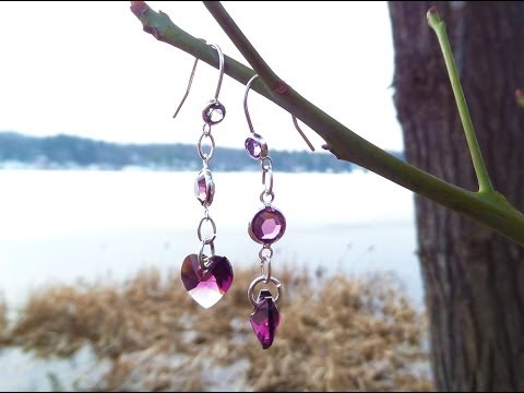 Amethyst Crystal Heart Earrings | February Birthstone Jewelry Tutorial | eclecticdesigns