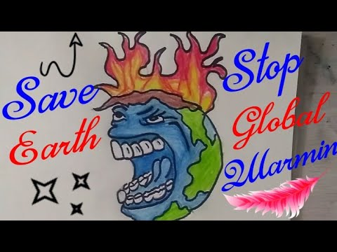 How To Draw SAVE EARTH Coloring Drawing For Kids || STOP GLOBAL WARMING || Stop Pollution Drawing ||
