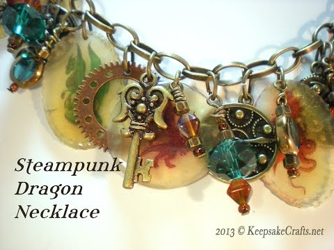 Steampunk Dragon Charm Necklace Video Tutorial