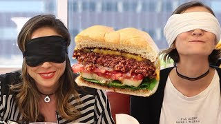Trying MEATLESS Beyond Burger VS REAL Burger ft. Ava Gordy, Shira Lazar   What