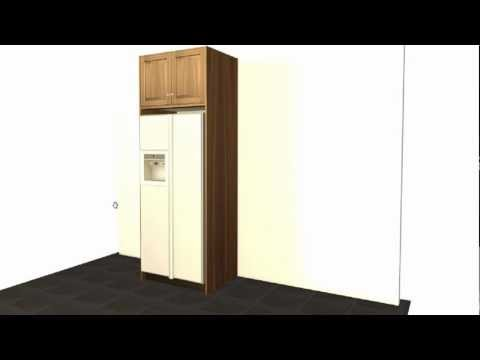 Create a standard GE refrigerator enclosure using Barker Cabinets