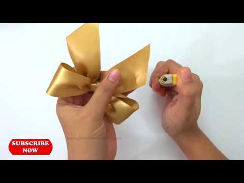 How to make a Bow, Make Simple Easy Bow, #DIY, Ribbon Hair Bow, Tutorial